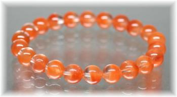 高品質オレンジアンフィボールインクォーツ約9ミリ玉ブレスレット(ORANGEAMPHIBOLE-0901IS)