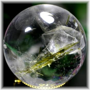 ブラジル産ダブルポイント貫入水晶丸玉エピトード入り 台座付属(QUARTZINQUARTZ-SPH525)
